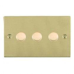 Hamilton Sheer Polished Brass Push On/Off 400W Dimmer 3 Gang 2 way with Polished Brass Insert