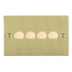 Hamilton Sheer Polished Brass Push On/Off 400W Dimmer 4 Gang 2 way with Polished Brass Insert
