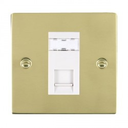 Hamilton Sheer Polished Brass 1 Gang RJ45 Outlet Cat 5e Unshielded with White Insert