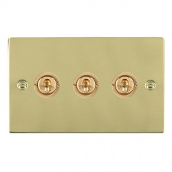 Hamilton Sheer Polished Brass 3 Gang 2 Way Dolly with Polished Brass Insert