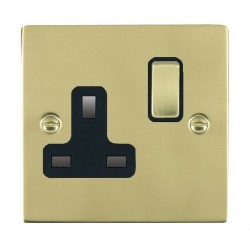 Hamilton Sheer Polished Brass 1 Gang 13A Switched Socket - Double Pole with Black Insert