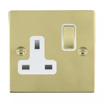 Hamilton Sheer Polished Brass 1 Gang 13A Switched Socket - Double Pole with White Insert