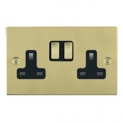 Hamilton Sheer Polished Brass 2 Gang 13A Switched Socket - Double Pole with Black Insert