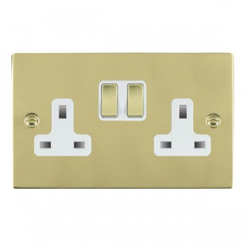 Hamilton Sheer Polished Brass 2 Gang 13A Switched Socket - Double Pole with White Insert