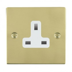 Hamilton Sheer Polished Brass 1 Gang 13A Unswitched Socket with White Insert