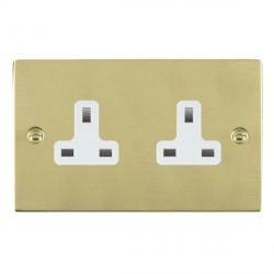 Hamilton Sheer Polished Brass 2 Gang 13A Unswitched Socket with White Insert