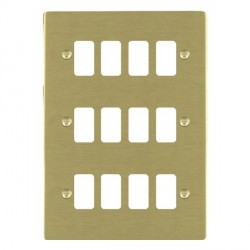 Hamilton Sheer Grid Satin Brass 12 Gang Grid Fix Aperture Plate with Grid