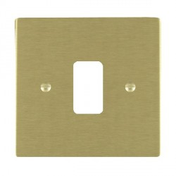 Hamilton Sheer Grid Satin Brass 1 Gang Grid Fix Aperture Plate with Grid