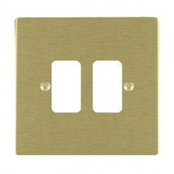 Hamilton Sheer Grid Satin Brass 2 Gang Grid Fix Aperture Plate with Grid
