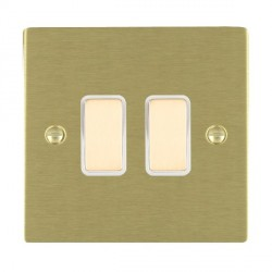 Hamilton Sheer Satin Brass 2 Gang Multi way Touch Master Trailing Edge with White Insert