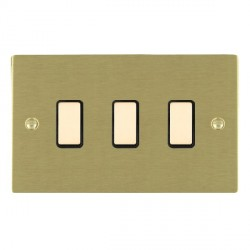 Hamilton Sheer Satin Brass 3 Gang Multi way Touch Slave Trailing Edge with Black Insert