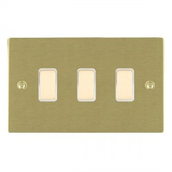 Hamilton Sheer Satin Brass 3 Gang Multi way Touch Slave Trailing Edge with White Insert