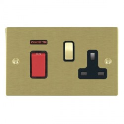 Hamilton Sheer Satin Brass 1 Gang Double Pole 45A Red Rocker + 13A Switched Socket with Black Insert