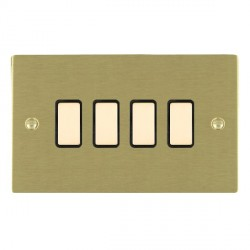 Hamilton Sheer Satin Brass 4 Gang Multi way Touch Master Trailing Edge with Black Insert