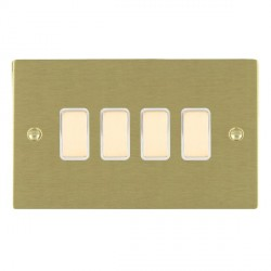 Hamilton Sheer Satin Brass 4 Gang Multi way Touch Slave Trailing Edge with White Insert