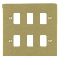 Hamilton Sheer Grid Satin Brass 6 Gang Grid Fix Aperture Plate with Grid