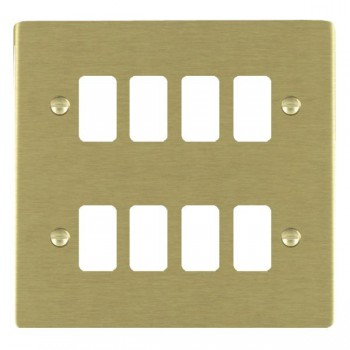 Hamilton Sheer Grid Satin Brass 8 Gang Grid Fix Aperture Plate with Grid