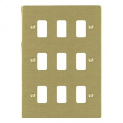 Hamilton Sheer Grid Satin Brass 9 Gang Grid Fix Aperture Plate with Grid