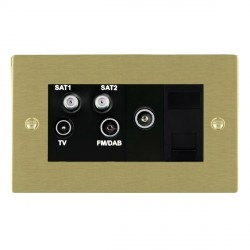 Hamilton Sheer Satin Brass TV+FM+SAT+SAT+TV+TCS (DAB Compatible) with Black Insert