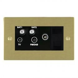Hamilton Sheer Satin Brass TV+FM+SAT+SAT+TV+TCS (DAB Compatible) with Black Insert