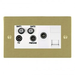 Hamilton Sheer Satin Brass TV+FM+SAT+SAT+TV+TCS (DAB Compatible) with White Insert