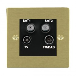 Hamilton Sheer Satin Brass TV+FM+SAT+SAT (DAB Compatible) with Black Insert