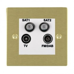 Hamilton Sheer Satin Brass TV+FM+SAT+SAT (DAB Compatible) with White Insert