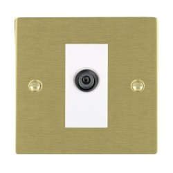 Hamilton Sheer Satin Brass 1 Gang Digital Satellite with White Insert