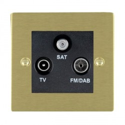Hamilton Sheer Satin Brass TV+FM+SAT (DAB Compatible) with Black Insert
