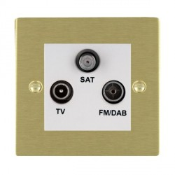 Hamilton Sheer Satin Brass TV+FM+SAT (DAB Compatible) with White Insert