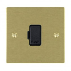 Hamilton Sheer Satin Brass 1 Gang 13A Fuse Only with Black Insert