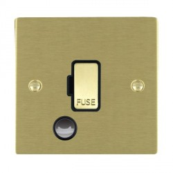 Hamilton Sheer Satin Brass 1 Gang 13A Fuse + Cable Outlet with Black Insert
