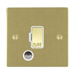 Hamilton Sheer Satin Brass 1 Gang 13A Fuse + Cable Outlet with White Insert