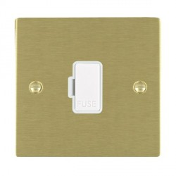 Hamilton Sheer Satin Brass 1 Gang 13A Fuse Only with White Insert