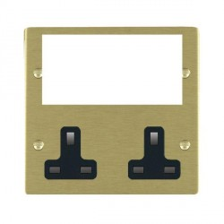 Hamilton Sheer Media Plates Satin Brass Media Plate containing 2 Gang 13A Unswitched Socket + EURO4 aperture with Black Insert