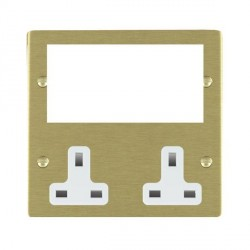 Hamilton Sheer Media Plates Satin Brass Media Plate containing 2 Gang 13A Unswitched Socket + EURO4 aperture with White Insert
