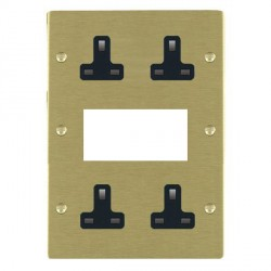 Hamilton Sheer Satin Brass Media Plate containing 2 Gang 13A Unswitched Socket, 2 Gang 13A Unswitched Socket, EURO4 aperture with Black Insert