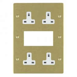 Hamilton Sheer Satin Brass Media Plate containing 2 Gang 13A Unswitched Socket, 2 Gang 13A Unswitched Socket, EURO4 aperture with White Insert