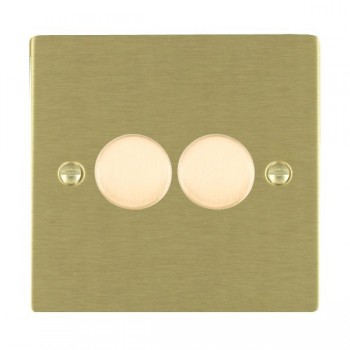 Hamilton Sheer Satin Brass Push On/Off 200VA Dimmer 2 Gang 2 way Inductive with Satin Brass Insert