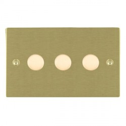 Hamilton Sheer Satin Brass Push On/Off Dimmer 3 Gang Multi-way 250W/VA Trailing Edge with Satin Brass Insert