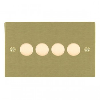 Hamilton Sheer Satin Brass Push On/Off 400W Dimmer 4 Gang 2 way with Satin Brass Insert