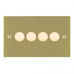 Hamilton Sheer Satin Brass Push On/Off Dimmer 4 Gang Multi-way 250W/VA Trailing Edge with Satin Brass Insert