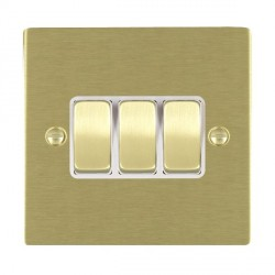 Hamilton Sheer Satin Brass 3 Gang 10amp 2 Way Rocker with White Insert