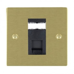 Hamilton Sheer Satin Brass 1 Gang RJ12 Outlet Unshielded with Black Insert
