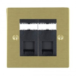 Hamilton Sheer Satin Brass 2 Gang RJ45 Outlet Cat 5e Unshielded with Black Insert