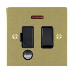 Hamilton Sheer Satin Brass 1 Gang 13A Fused Spur, Double Pole + Neon + Cable Outlet with Black Insert