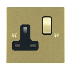 Hamilton Sheer Satin Brass 1 Gang 13A Switched Socket - Double Pole with Black Insert