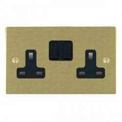 Hamilton Sheer Satin Brass 2 Gang 13A Switched Socket - Double Pole with Black Insert