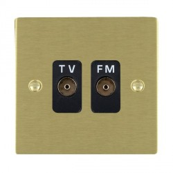 Hamilton Sheer Satin Brass 2 Gang Isolated Television/FM 1in/2out with Black Insert
