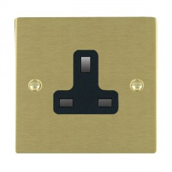 Hamilton Sheer Satin Brass 1 Gang 13A Unswitched Socket with Black Insert